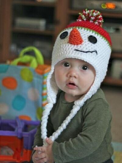 Cute cartoon snowman infant baby boys girls crochet handmade knitted hat  with ear flap cap photography props e84262df545