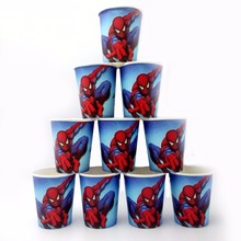 10pcs/lot Spiderman  Cup Cartoon Superhero Birthday Decoration Theme Party Supply Festival For Kids