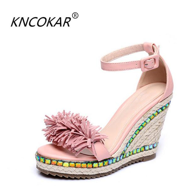 The new fashion wedge sandals Bohemia package with straw colored diamonds tassel shoe fashion sexy women's shoes