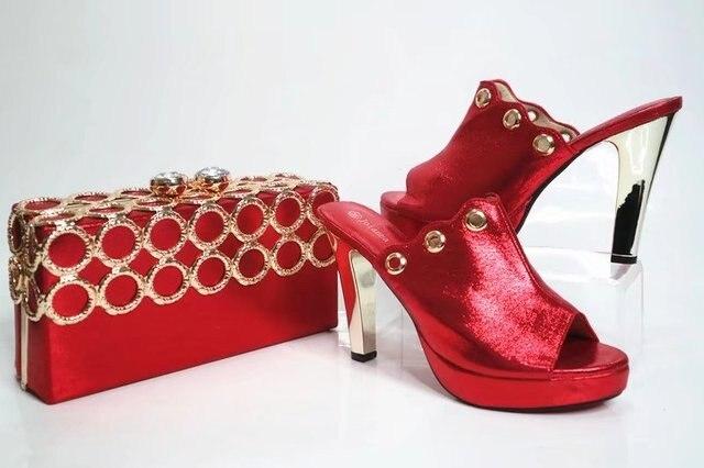 94a854de0905da Rouge chaussures et embrayages sac ensemble assorti pour dentelle aso ebi  partie femmes pantoufles mode africaine