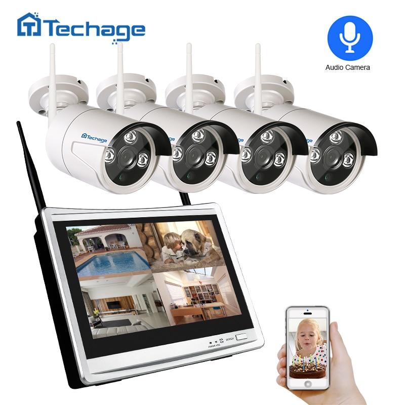 Sistema de cámara de seguridad inalámbrica Techage 4CH 1080P 12 - Seguridad y protección