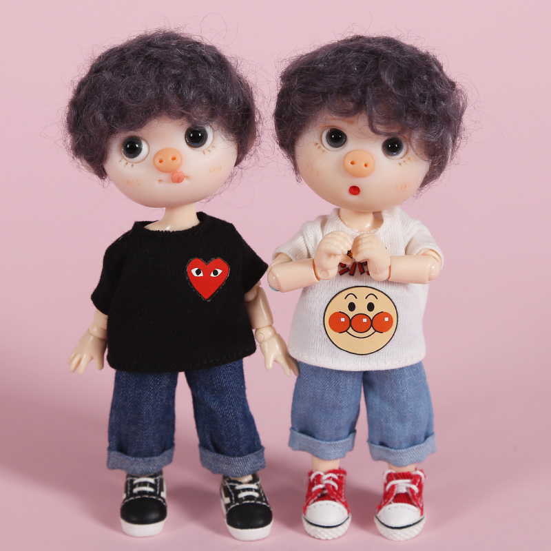 New Cute Doll Clothes Jeans Pant/cute T-shirt For Ob11,obitsu 11,1/12bjd Doll Clothes Accessories For Dolls