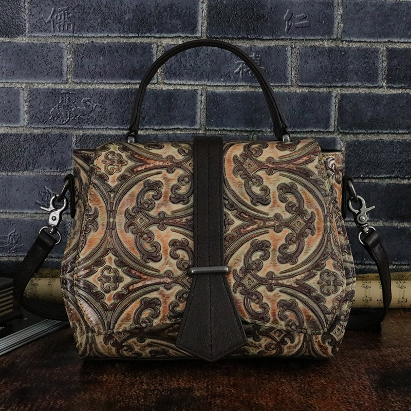 Genuine Leather Women Shoulder Top Handle Bags Female Hobo Vintage Real Cowhide Embossed Tote Handbag Cross Body Messenger Bag real genuine leather women single shoulder bag small cross body satchel ladies messenger bags famous brand cowhide tote handbag