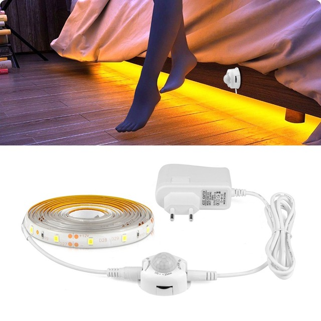 US EU PIR Motion Sensor Kitchen Light Tape 12V LED Night Light IR Body Move Detection Ribbon Strip Lamp corridor bed wardrobe