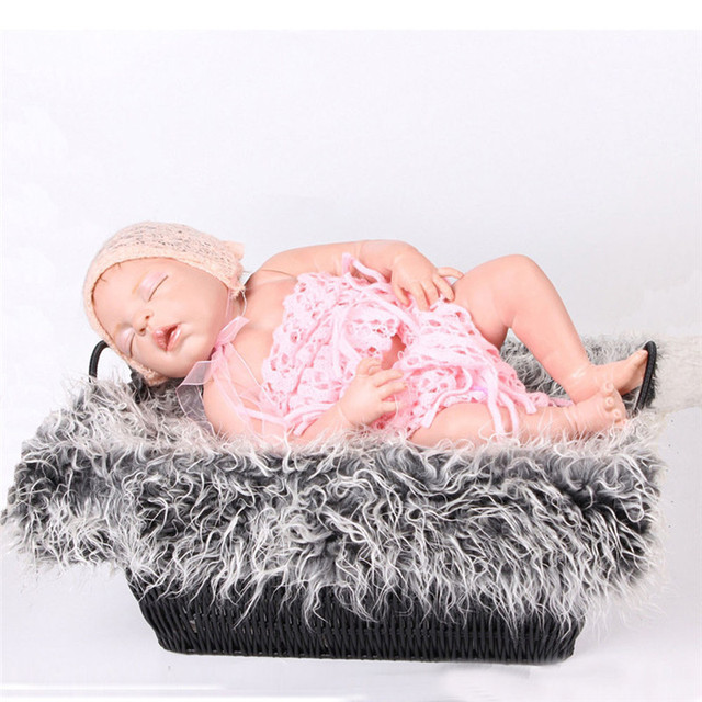 Baby blanket for infant newborn photography props faux fur basket stuffe photo prop background soft basket