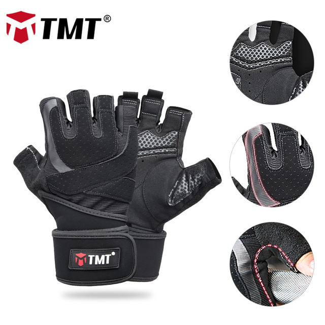 TMT Gym Gloves Anti-slip With Wristband Sports Weight Lifting Gloves Body Building Deadlift Training Fitness Protect Workout