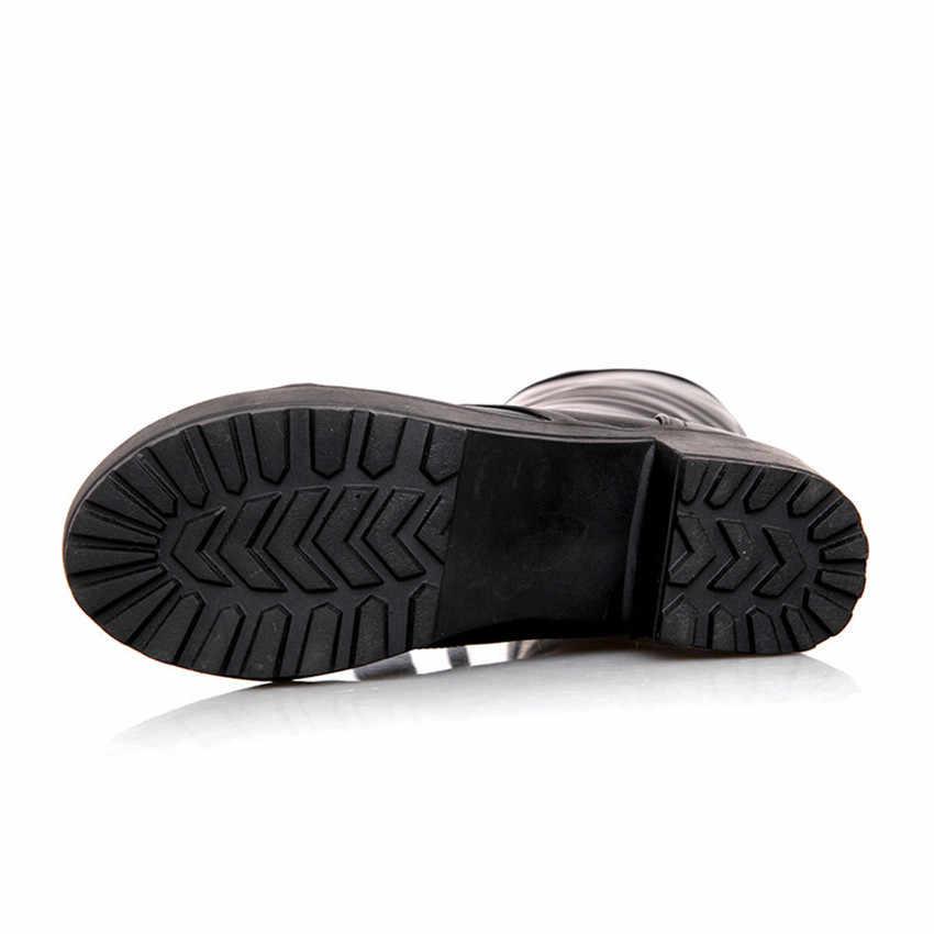 Prova perfetto Büyük Boy 43 Lace Up Diz Yüksek Çizmeler Kadın Sonbahar Yumuşak Deri Moda Beyaz Kare Topuk Kadın Ayakkabı kış Sıcak