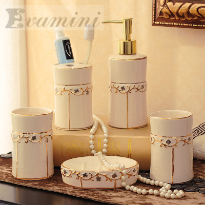 China Ceramic Bathroom Set Five Piece Of Bathroom Fashion Modern Toothbrush Holder Bathroom Accessories image
