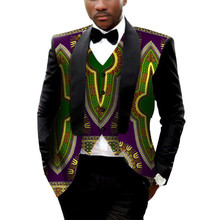 Casual Mens African Print Blazers African Clothes Jacket Vest Bowtie Dashiki Bazin Riche Mens African Clothing Slim Suits