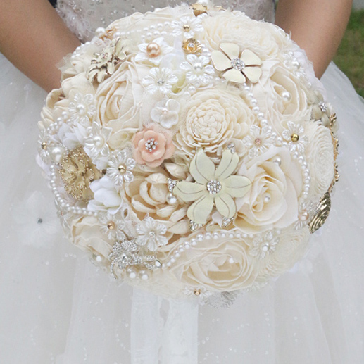 Diy Wedding Flower Bouquet: DIY Ivory Brooch Bouquet Plants Flower Bride Bridal