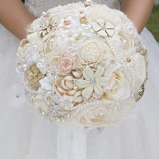 Diy Flower Bouquet Wedding: DIY Ivory Brooch Bouquet Plants Flower Bride Bridal