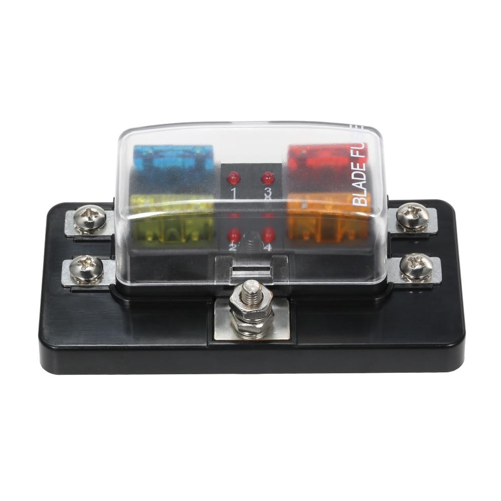 12 V 24 V 4 Via Lama Fuse Box con Indicatore LED Fusibile blocco per Auto  Barca Marine Caravan Circuito Fusibile ATO Standard + 4X