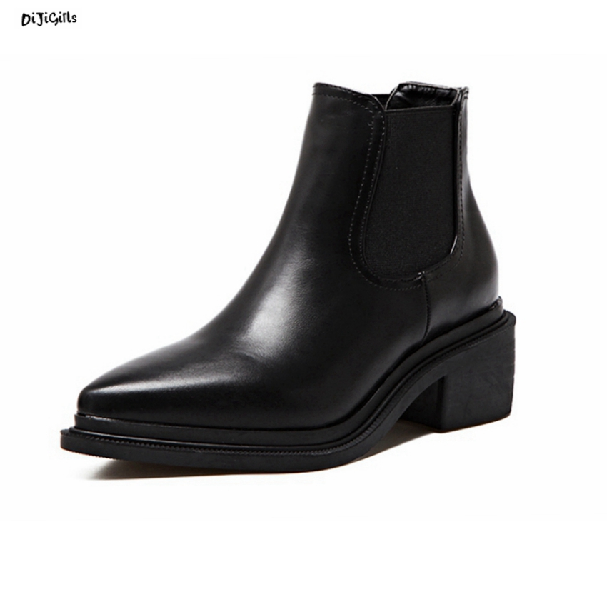 Women Fashion Ankle Boots Mid Square Heels Black Shoes Woman Short Booties Chelsea Boots jpg01  2017 brand new women chelsea boots thick high heels dress shoes woman fashion luxury gladiator short designer booties botas