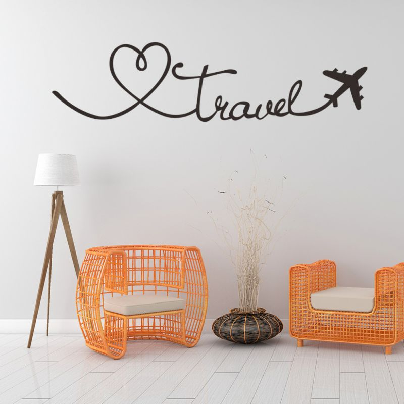 Wall Stickers Travel Themed Quote Words Wall Decal DIY Self-Adhesive Removable PVC Home Decor Stickers