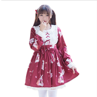 Japanese Kawaii Chiffon Music Rabbit Print Cute Bow Lolita Dress Women Lace Peter Pan Collar Ribbons Princess Dresses V073