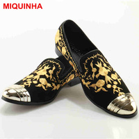 MIQUINHA Lazy Shoes Round Toe Gold Flower Embroider Men Shoes Loafers Low Top Dress Shoes European