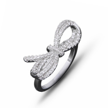 2019 New Fashion Real copper romantic white Color big bow design AAA Cubic Zirconia Full Crystals Ring For Women J02786