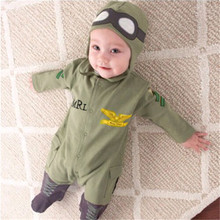 Newborn Baby Clothes arrival Baby Boy Army Green Letter Print Long Sleeve Single Breasted Romper Hat Cap Rompers Cotton 2PCS Set picturesque childhood footie sleepwear newborn baby romper long sleeve cotton 0 12 months sheep star print baby romper boy