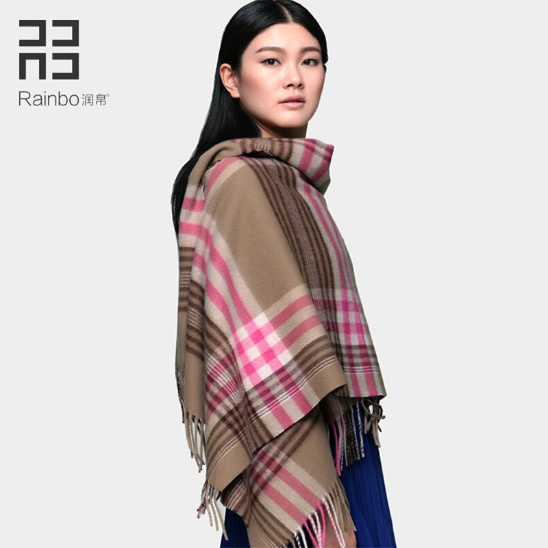 Raibo 2015 new style thickening plaid lamb wool scarf shawl keeping warm over length autumn and winter women pink