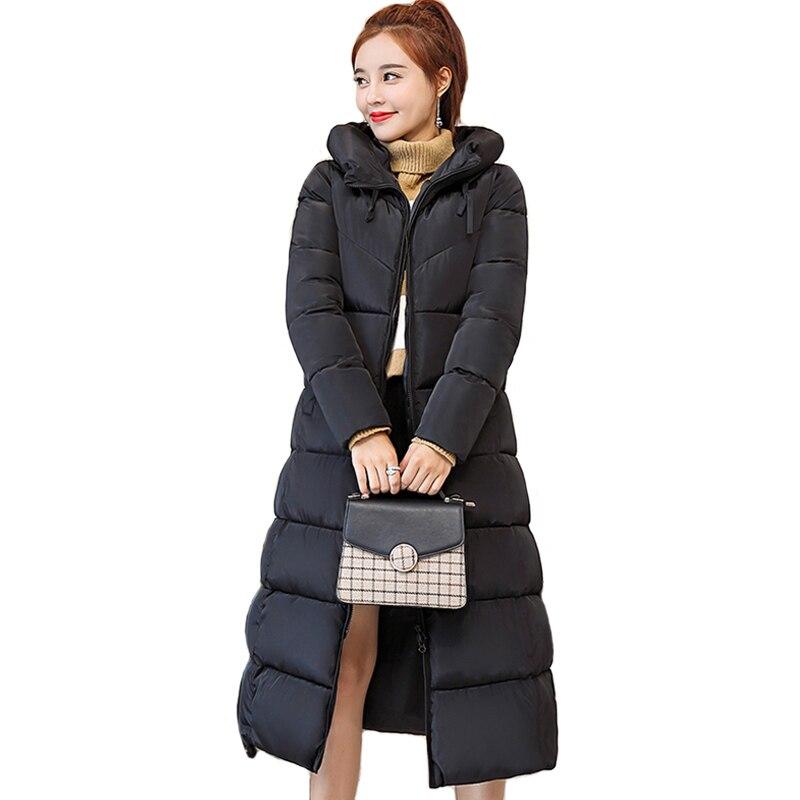 2019 Slim Women Winter Jacket Hooded Solid Cotton Padded Female Coat Outwear Long Ladies Parka Casaco Feminino-in Parkas from Women's Clothing    1