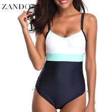 Zando Summer Plus Size Sexy One Piece Swimwear Patchwork Bandage Backless  Beachwear Bathing Suits Monokini Swimsuit S-5XL