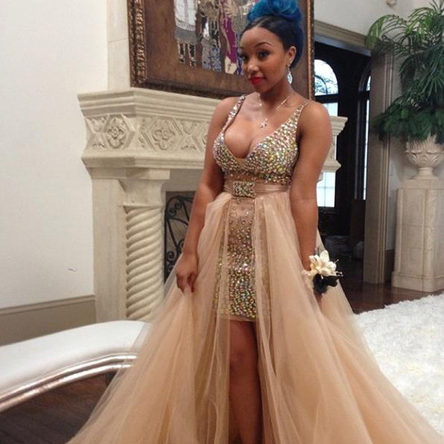 Two Piece Plus Size Prom Dresses 2016 Light Champagne Sexy V Neck