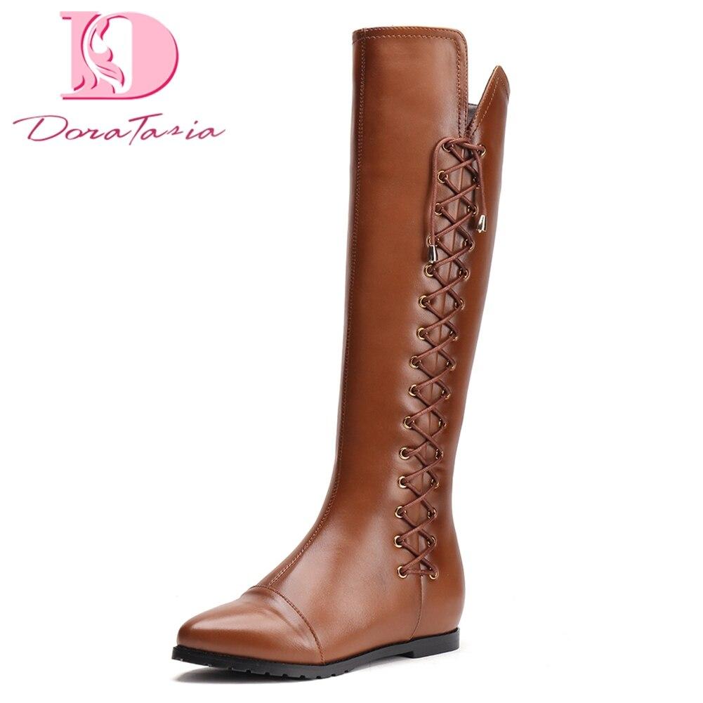 Doratasia Brand New Top Qualité En Cuir Véritable Lacets Femmes Chaussures Bottes D'équitation De Mode Hiver à hauteur du genou Bottes Femme Chaussures