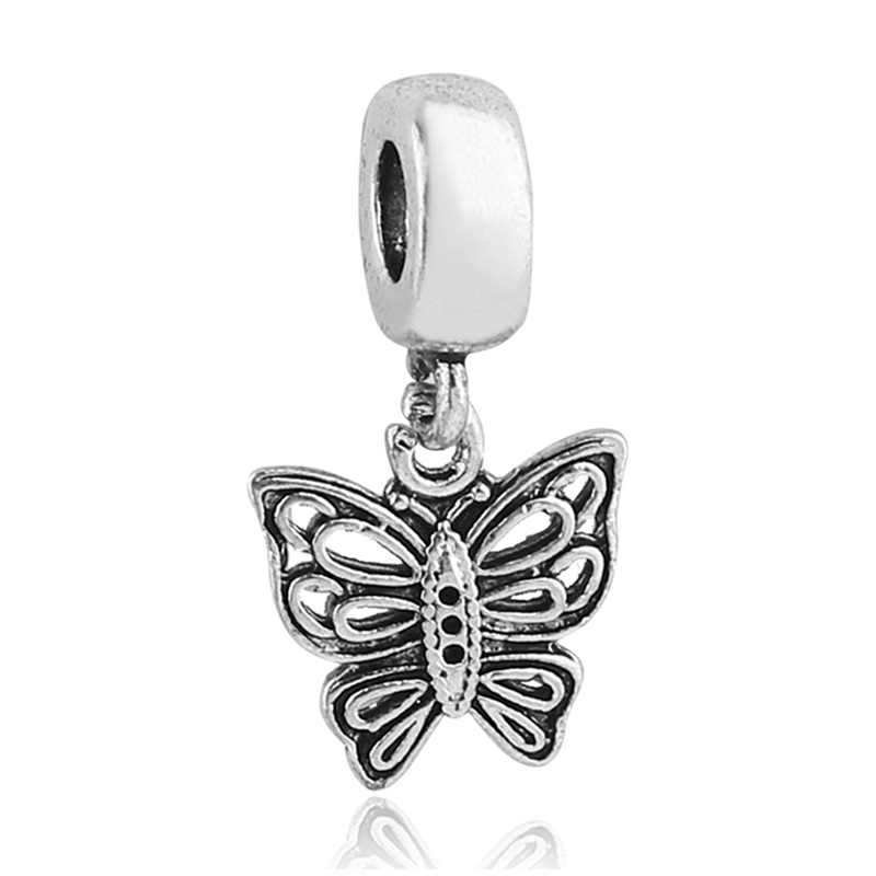 ᐃfree Shipping 1pc Silver Butterfly Charms Hanging Dangle Bead