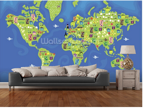 Custom Children's Wallpaper,Cartoon World Map,3D Cartoon