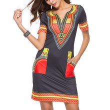 JSMY V-neck Tight Ethnic Etyle Print New Womens Milk Silk Dress