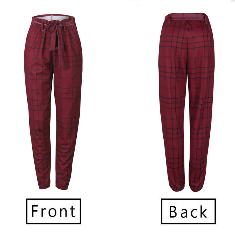 Casual Pants Femme Summer Sashes Long Plaid Lace Up Elastic Wide Leg High Waist Pants Female Trousers Streetwear Women Clothes