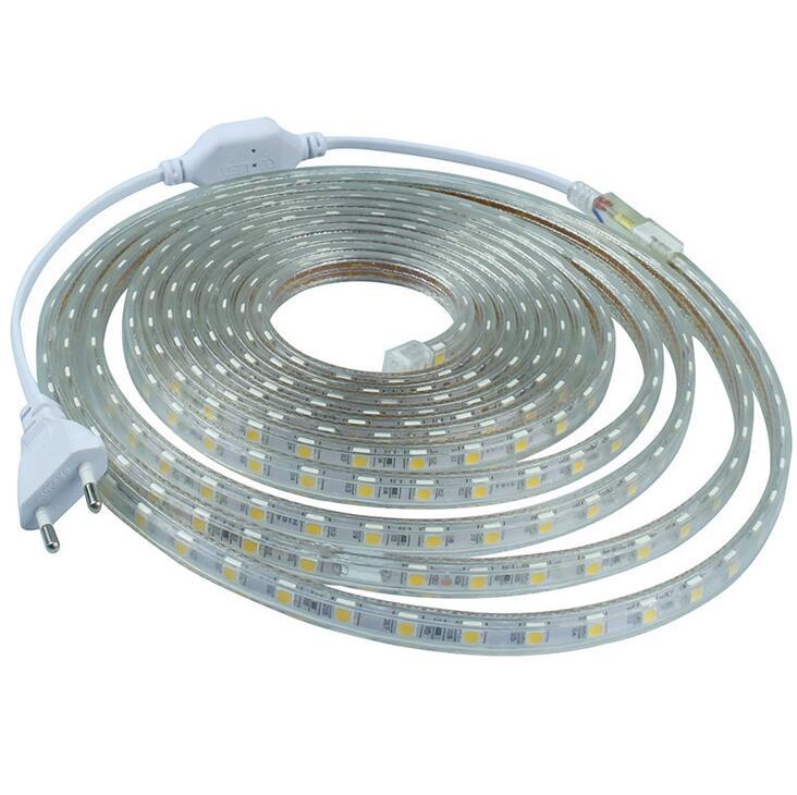 SMD 5050 AC220V LED Strip Flexible Light 60leds/m Waterproof Led Tape LED Light With Power Plug 1M/2M/3M/5M/6M/8M/9M/10M