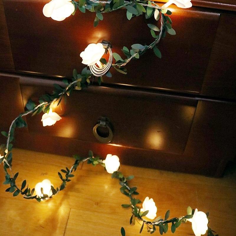 1.5m 3m 6m Rose Flower Vine LED String Lights Battery/USB Operated Green Leaf Garland Lamp For Valentine's Day Wedding Christmas