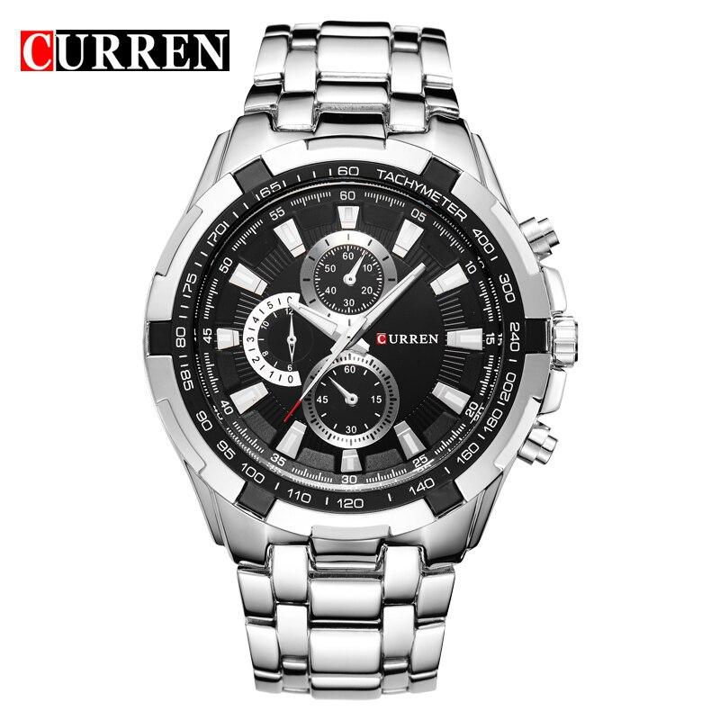 Top Marca de Luxo CURREN Relógios Homens Moda & Casual Quartz Relojes Masculino Banda de Aço Analógico Sports Relógio de Pulso Clássico
