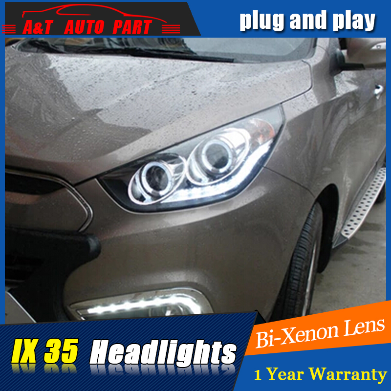 Auto part Style LED Head Lamp for Hyundai IX35 led headlights 2010-2013 drl H7 hid Bi-Xenon Lens angel eye low beam hireno headlamp for 2013 2015 hyundai ix35 headlight assembly led drl angel lens double beam hid xenon 2pcs