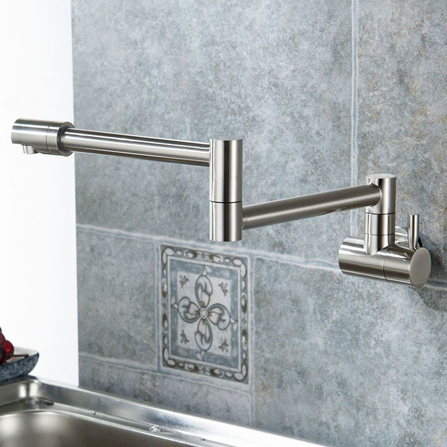 Articulating Kitchen Faucet Cabinets Tampa Lead Free Solid Brass Pot Filler Double Joint And 360 Degree Rotating