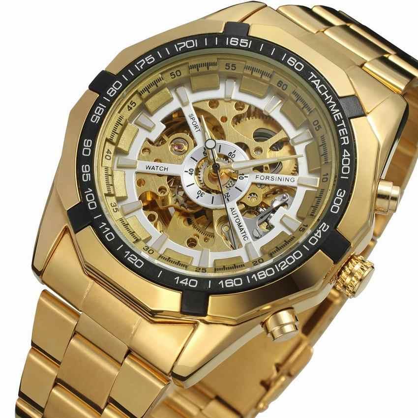 0733c30d2 FORSINING Watch Men Skeleton Automatic Mechanical Watch Gold Skeleton  Vintage Man Watch Mens Winner Watch Top