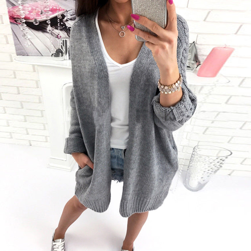 2018 Autumn Long Sleeve Knitwear Women Long Sleeve Sweater Female Solid Cardigan Outwears Elegant Ladies Casual Coat Pull Femme