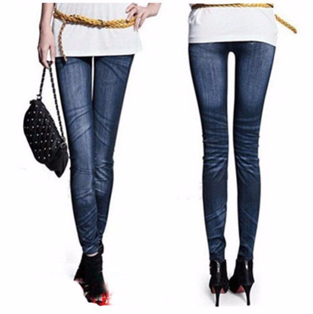 2016 New Fashion Women Stonewash Denim Skinny Leggings Stretchable Pencil Pants Tights faux   Jeans   Stonewash Slim Legging Hot B3