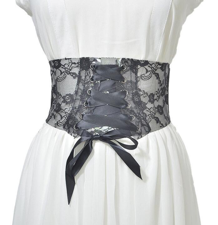 Women's Runway Fashion Transparent Lace Elastic Cummerbunds Female Dress Corsets Waistband Belts Decoration Wide Belt R1383
