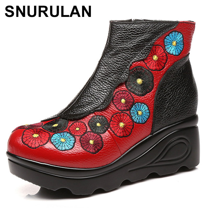 SNURULAN 2017 Autumn Winter Women High Heel Genuine Leather Boots Handmade Vintage Ankle Boots Flower Mother Shoes Zapatos Mujer 2018 high quality handmade thick heel women shoes genuine leather women boots martins winter vintage ankle boots botas mujer