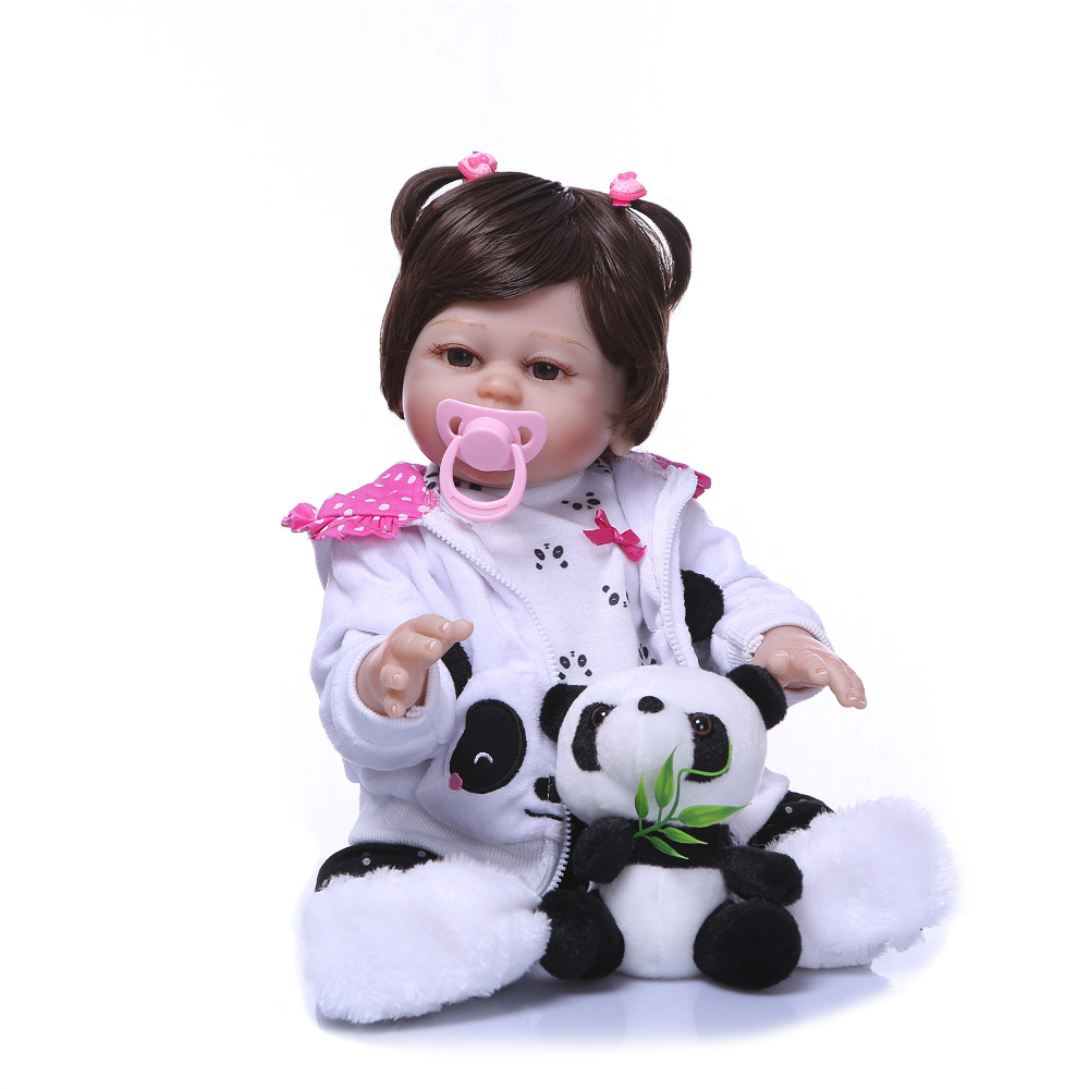 Nicery 20inch 50cm Bebe Reborn Doll Hard Silicone Boy Girl Toy Reborn Baby Doll Gift for Children White Coat PandaNicery 20inch 50cm Bebe Reborn Doll Hard Silicone Boy Girl Toy Reborn Baby Doll Gift for Children White Coat Panda