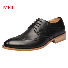 2018 Men Formal Shoes Leather Black Office Business Driving Oxford Shoes Elegant Wedding Mens Pointed Toe Dress Shoes Size 37-45
