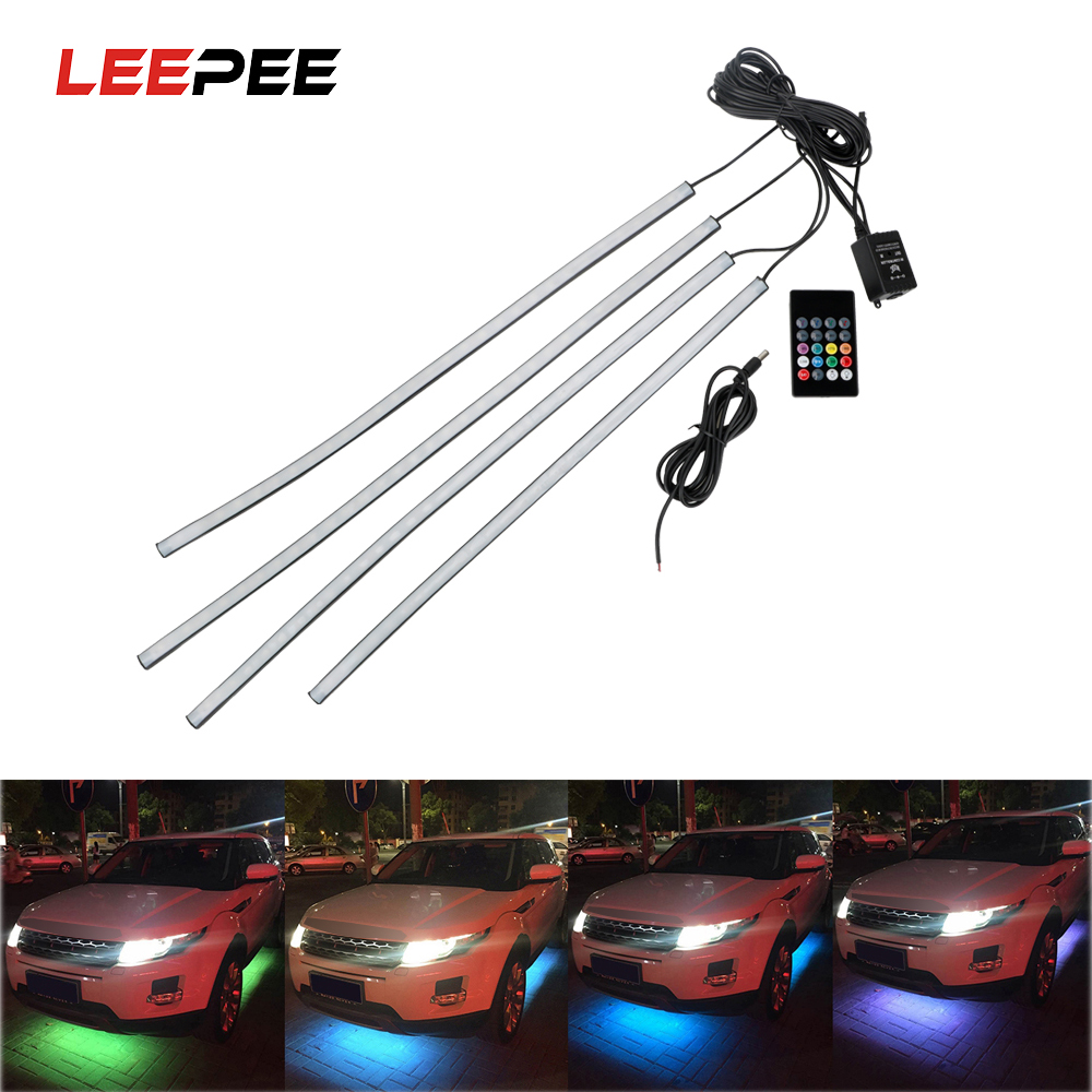 LEEPEE 4x8 Auto LED Strip Neon LED Car Bottom Lights Underglow Underbody Music Active Sound System Neon Light Car Kit