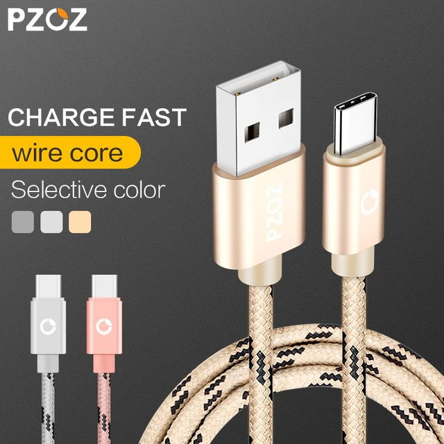 PZOZ USB Type C Cable USB C Fast Charger Data Cable Type-C USB 3.1 Charging Cable For Oneplus 5 3t Mi5 Samsung Galaxy S8 USB-C