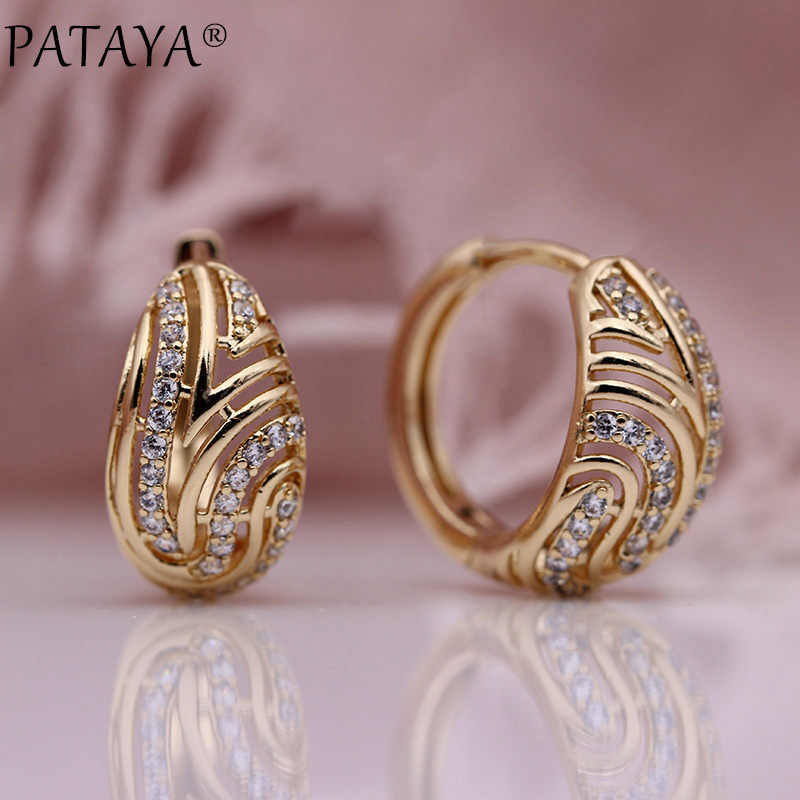 PATAYA New Women Hollow Dangle Earrings Gifts Party Circle Earring White Round Natural Zircon Classic Engagement Fashion Jewelry
