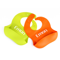 Emon Soft Silicone Baby Bibs Waterproof With Pocket Green