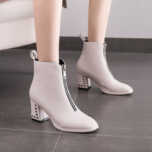 Spring/Autumn 2019 New Women Boots Ankle Rivet Riding, Equestrian Med (3cm-5cm) Square Toe Zip Luxury Shoes Designers