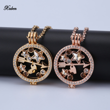 New 35mm coin necklace pendants mix disc fit 33mm coins holder woman fashion jewelry design 80cm europe style chain rose gold