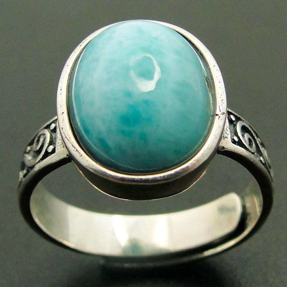Nouveau conçu naturel Larimar anneau de pierres précieuses belle ovale 10X13 MM océan pierre de mariage bague de fiançailles vacances femme bijoux fins
